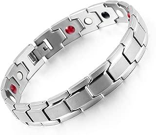 Elegant Titanium Therapeutic Energy Bracelet for Men Arthritis Pain Relief Anxiety Magnetic Bracelet and Carpal Tunnel Therapeutic Energy Bracelet New Design SGS 99.999% Pure Germanium Bracelet Stones