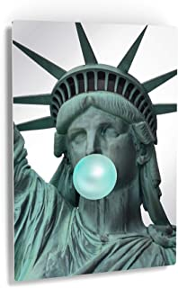 Smile Art Design New York City Masterpiece Statue of Liberty Teal Blue Bubble Gum Art Metal Print Famous Statues Metal Wall Art Home Decor Ready to Hang Made in USA - 12x8