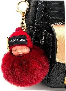 Faux Fox Fur Pom Pom Sleeping Baby Keychain Purse Bag Charm Fluffy Ball Key Chain for Women Bag or Cellphone or Car Pendant