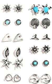 12 Pairs Assorted Boho Stud Earrings Set Vintage Round Beads Earring for Women and Girls