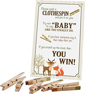 Lillian Rose Woodland Clothespin Baby Shower Game, Neutral, 11.25