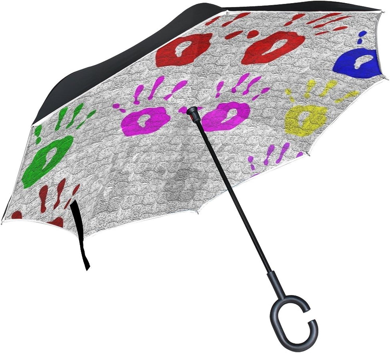 Double Layer Ingreened Decoration Fantasy Laptop Umbrellas Reverse Folding Umbrella Windproof Uv Predection Big Straight Umbrella for Car Rain Outdoor with CShaped Handle