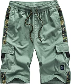 APTRO Men's Elastic Waistband Relaxed Fit Cargo Shorts Casual Lightweight Summer Shorts