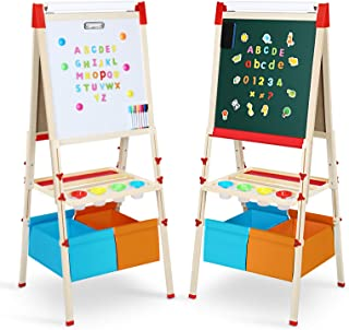 Magicfun Chevalet Peinture Enfant, Tableau Double Face Tableau Blanc et Noir en Bois avec Accessoires Magnétiques et Haute...
