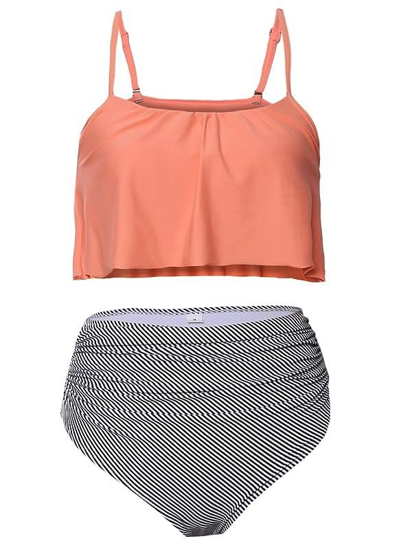 Dearlove Women's Retro Falbala High Waist Bikini Set Top Bottom Swimsuit Bathing Suits trdbfwqg828089