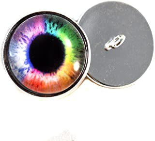 Rainbow Eyes With Sew In Loops 16mm Glass Eye Cabochons for Fantasy Art Doll Stuffed Animal Soft Sculptures or Jewelry Making Crafts Set of 2