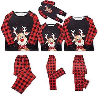 Pijamas de Navidad Familiar Graciosos Conjunto Mujer Hombre Niños Bebé Camisetas de Manga Larga Reno + Pantalones Largos a Cuadros Pijamas para Toda la Familia (Negro,Mamá/M)