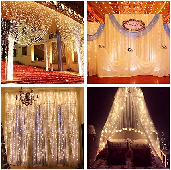 ZSTBT UL Safe 304 LED 9 8Feet Connectable Curtain Lights Icicle Lights Fairy String Lights With 8 Modes For Wedding Party Family Patio Lawn Decoration