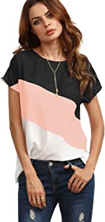 Romwe Women's Color Block Blouse Short Sleeve Casual Tee Shirts Tunic Tops Pink M