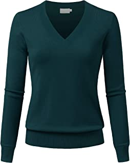 JSCEND Women's V-Neck Long Sleeve Solid Basic Soft Stretch Pullover Knit Sweater