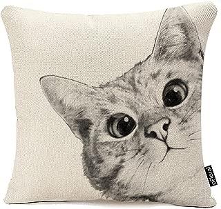 oFloral Throw Pillow Case Cushion Cover, Cat Picture Pillow Case Cotton Linen Sofa Car Cushion Cover Home Decor 18