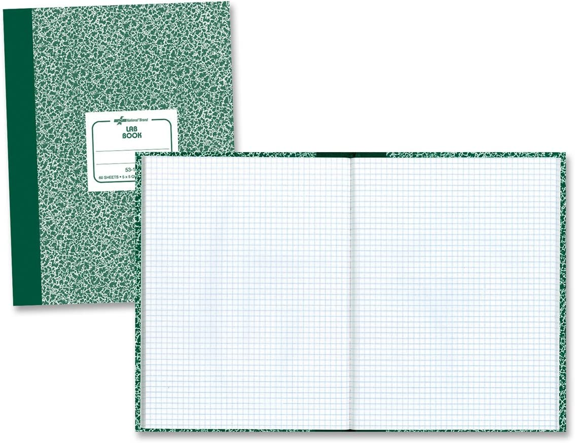 """National Laboratory Notebook, 5 x 5 Quad Ruling, Green Marble Cover, 10.125"""" x 7.875"""", 60 Sheets (53108) : Science Laboratory Notebooks : Office Products"""