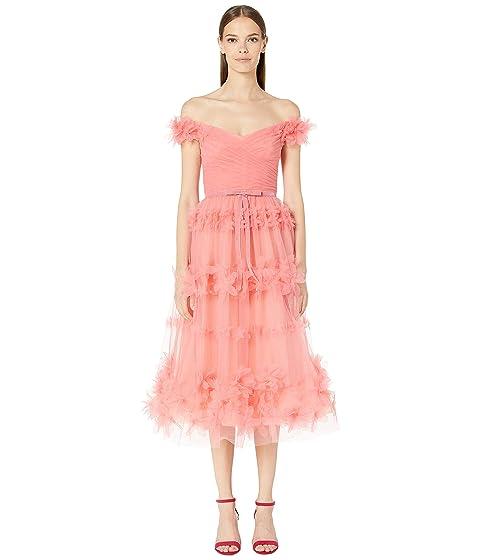 Marchesa Notte Off the Shoulder 3D Floral Stripe Gown