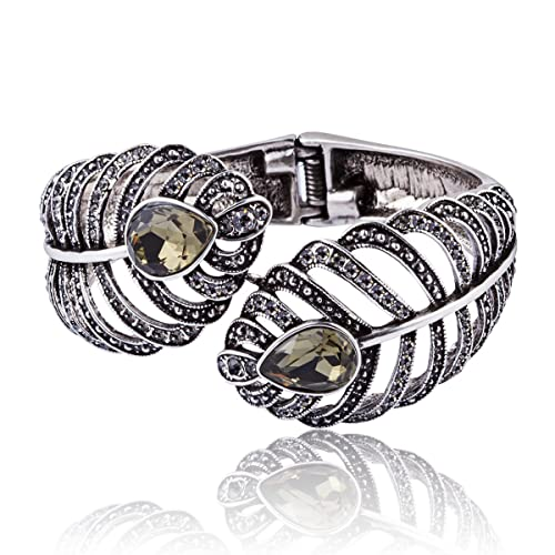 62a070017d6 Carfeny Vintage Retro Cuff Bracelet, 925 Sterling Silver Wide Bangle  Bracelets with Austrian Crystal,