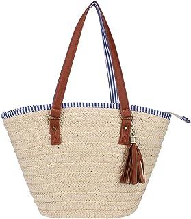 Sornean Straw Beach Bag Handbags Shoulder Bag Tote,Cotton Lining,PU Leather Handle-Eco Friendly