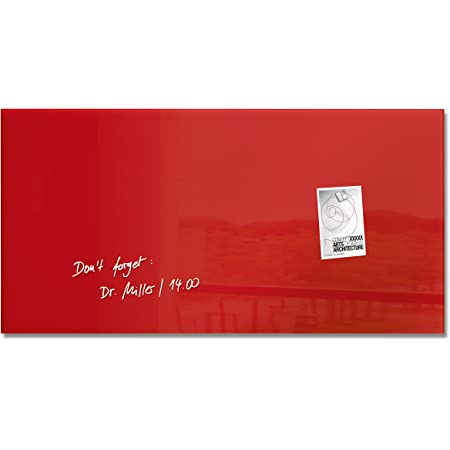 Sigel GL147 - Pizarra de cristal magnética, 91 x 46 cm, rojo