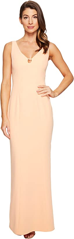 V-Neck Cut Out Stretch Crepe Gown