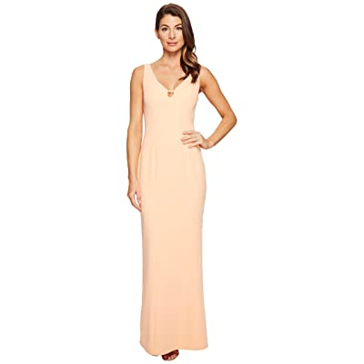 Laundry by Shelli Segal V-Neck Cut Out Stretch Crepe Gown (Salmon Buff) Women