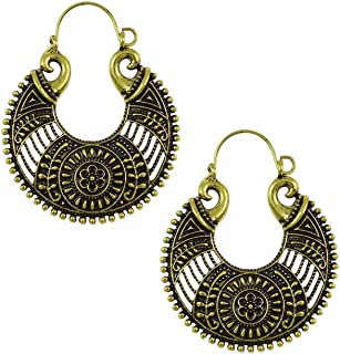 Indian Vintage Retro Ethnic Dangle Gypsy Oxidized Gold Tone Boho Hoop Earrings for Girls and Women Love Gift