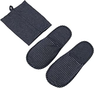 MINISO Men's Indoor Slipper, Comfortable Knitted Cotton Slippers - Washable Flat House Shoes, Spa Slippers, Travel Slippers with Shoe Bag for Home Hotel Office Airplane