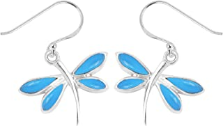 Boma Jewelry Sterling Silver Stone Inlay Dragonfly Dangle Earrings