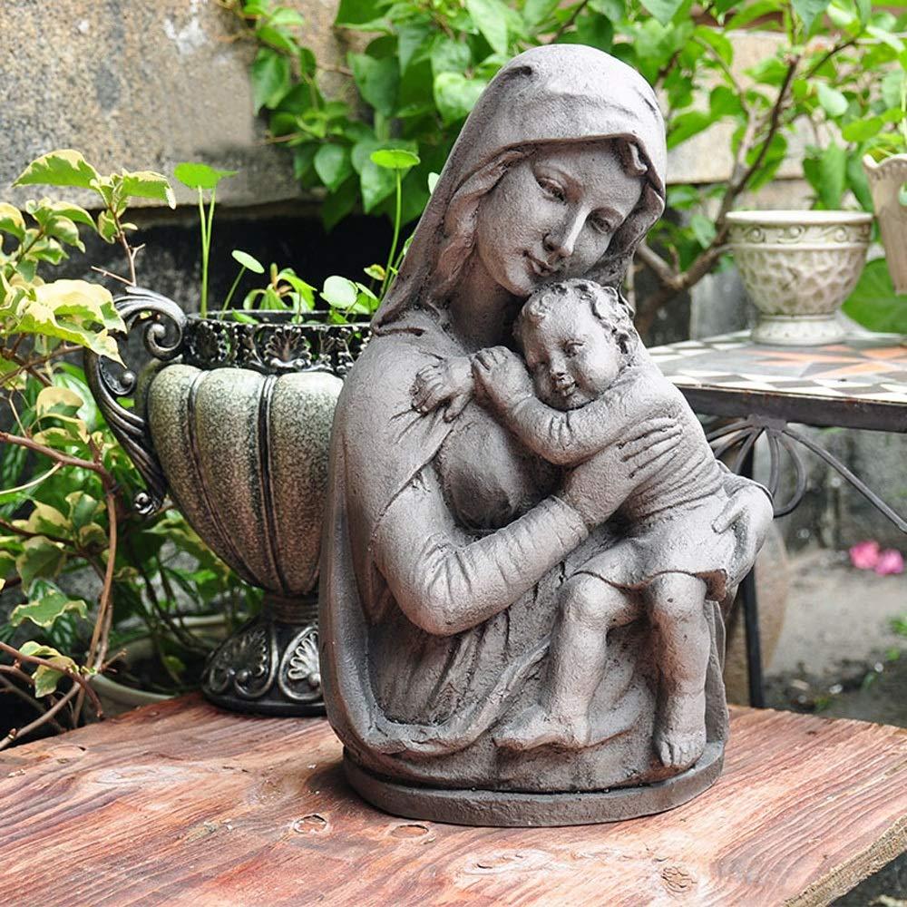 SUPRIEE-HM Adorno de jardín Rústico de la Vendimia óxido de magnesio imitación Cemento bebé decoración del jardín Católica Adornos de jardín Figurita para decoración de Invierno de césped de Patio al: Amazon.es: