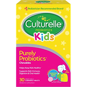 Culturelle Kids Chewable Daily Probiotic for Kids - Natural Berry - Supports Immune, Digestive, and Oral Health - For Age 3+ - Gluten,Dairy,Soy-Free - 30 count (AMR-028)