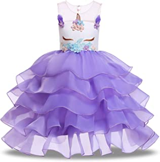 PURFEEL Girls Unicorn Tutu Dress Kids Party Costume with Headband