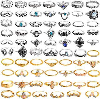 ONESING 69 Pcs Stackable Ring Knuckle Ring Set for Women Girls Bohemian Retro Vintage Joint Finger Rings Hollow Carved Flowers