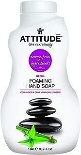 ATTITUDE Natural Care, Hypoallergenic Foaming Hand Soap Refill, Coriander & Olive, 35.2 Fluid Ounce