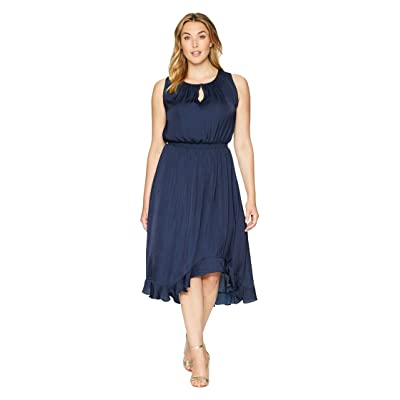 Vince Camuto Specialty Size Plus Size Sleeveless Cinched Waist Rumple Maxi Dress (Classic Navy) Women