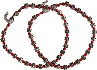 AyA Fashion Oxidised German Silver beads Anklet for Women