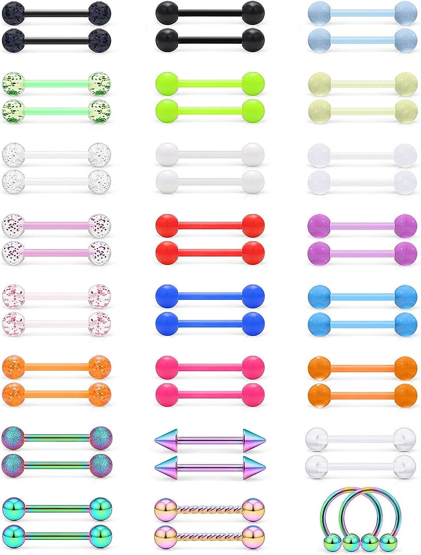 SCERRING 14G Nipple Rings Acrylic Bioflex Flexible Stainless Steel Tongue Ring Nipplerings Barbell Body Piercing Jewelry Retainer for Women Men 14mm 48PCS