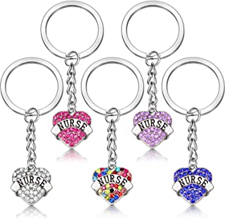 5 Pack Nurse Gifts for Women, Crystal Heart Keychain Nurse Jewelry Set for Graduation Nurses Day Thanksgiving Day and Birthday (Color A)