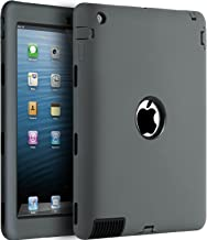 iPad 2/3 / 4 Case,BENTOBEN Heavy Duty Rugged Slim Shockproof Silicone High Impact Resistant Hybrid Three Layer Full Body Protective Case Cover for 9.7 iPad 2nd/ 3rd/4th Generation Retina(Gray/Black)