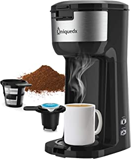 Single Serve Coffee Maker, Dual for KCup Pod & Ground Coffee Brewer, Instant Coffee Machine with Brew Strenght Control and Self Cleaning Function, Compact Style Thermal Drip Coffee Maker by Uniquedx