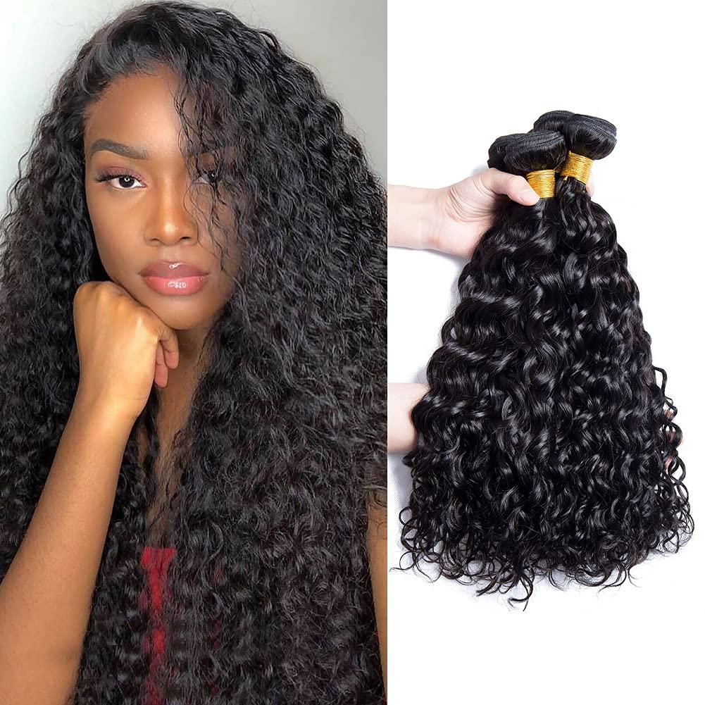 Water Wave Many popular brands 4 Bundles Wet Detroit Mall And Unproc Human Hair Wavy 100%