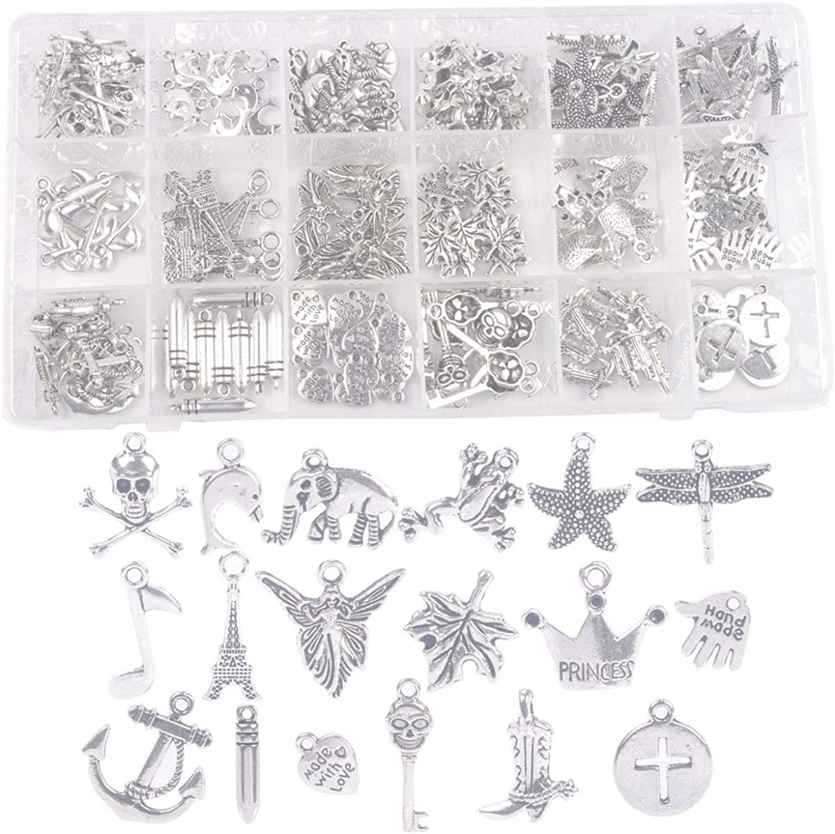 ChangJin One Box of 200PCS Assorted Antiqued Silver Metal Charms for Jewelry Making In Storage