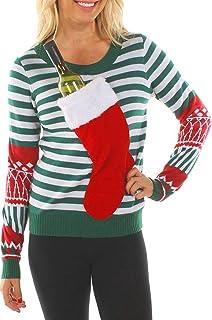 Suéter De Navidad Feo Calcetín Parche Rayas Sudadera