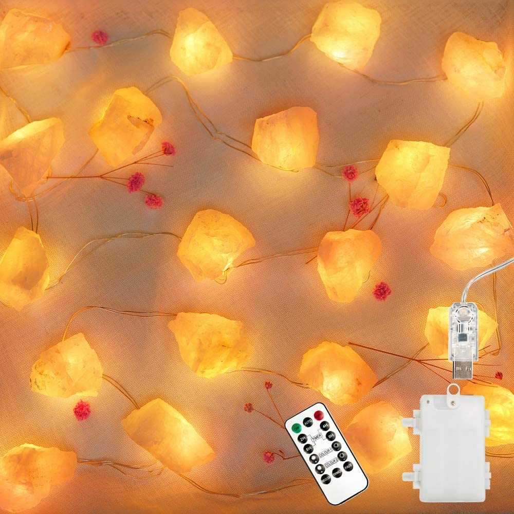 BOHON Natural Crystal String Lights Battery Powered Night Light with Remote Raw Stones USB Fairy Lights 6.5ft 20 LEDs Decorative Lights for Bedroom Mother's Day Valentine's Day Party Decor Pink