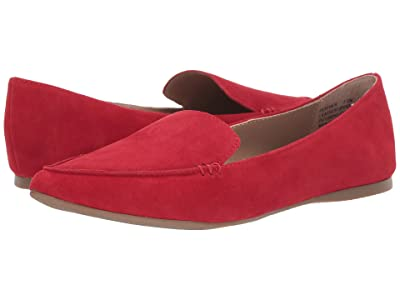 Steve Madden Feather Loafer Flat (Red Suede) Women
