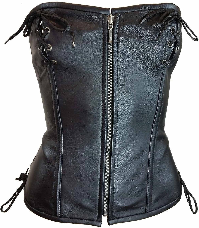 Vance Women's Soft Lamb Leather Front Zipper Sexy LINGERINE Corset Front & Back Laces Black