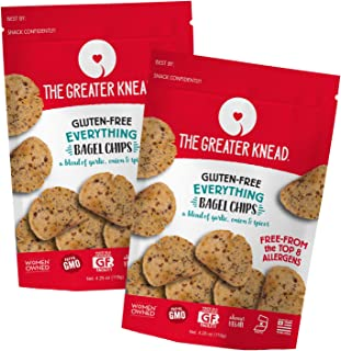 Greater Knead Gluten Free Bagel Chips - Everything, Vegan, non-GMO, Free of Wheat, Nuts, Soy, Peanuts, Tree Nuts (2 Bags)