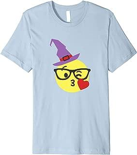 Cute Nerd Emoji In Witch Hat Halloween Gift Premium T-Shirt
