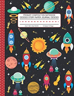 Primary Composition Notebook Story Paper Journal: Dotted Midline and Picture Space | Grades K-2 School Exercise Book | 110...