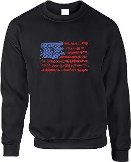 American Flag Paint Splat USA Stars Stripes America Print Design U.S.A and Go Printed Logo Military Jumper Sweater Sweatsh...