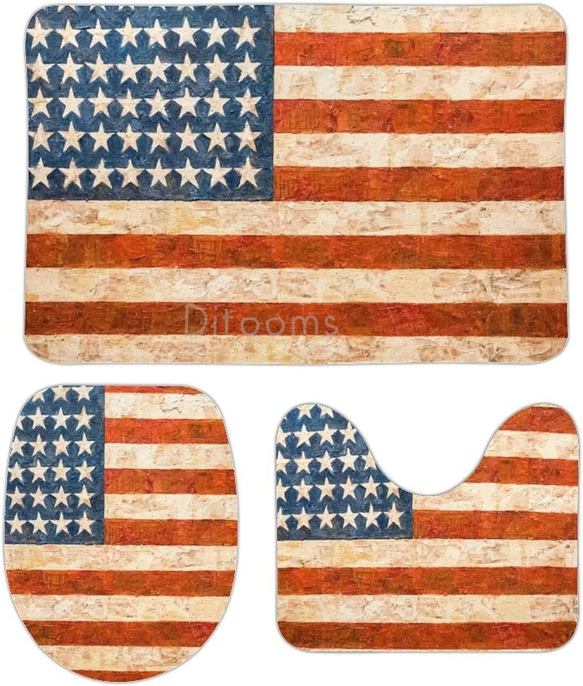 3 Pieces Luxury NEW before selling ☆ goods Set New York Wooden USA Mats Flag Rug Sli Bathroom Non