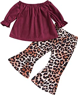 Toddler Baby Girl Leopard Clothes Ruffles Top Shirt and Bell Bottom Flared Pants Outfits Sets