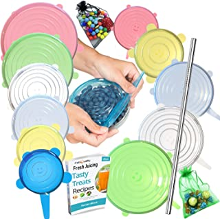 Sponsored Ad - FabQuality 15PCS - Silicone Stretch Lids 13pcs, 1x + Oil Funnel and 1x Garlic Peeler. Various Sizes and Sha...