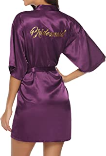 Satin Bridesmaids Bride Robes with Gold Glitter for Wedding Bridal Party Silky Kimono Robes
